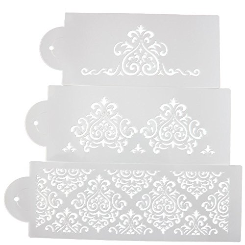 Stencil Decorating (COOKNBAKE Flower Cake Decorating Tools Cake Fondant Side Baking Stencil Carved Classic Fondant Mold Wedding Decor Mold Set of 3)