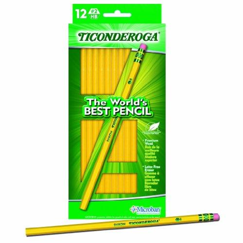 Dixon Ticonderoga Wood-Cased #2 HB Pencils, Hang Tab Box of 12, Yellow (13812) (London Halloween Stores)