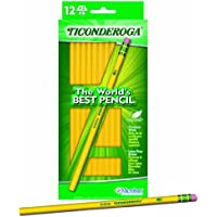 Dixon Ticonderoga Pencils, #2 Soft Lead, Yellow Barrel, Box Of 12 Pencils