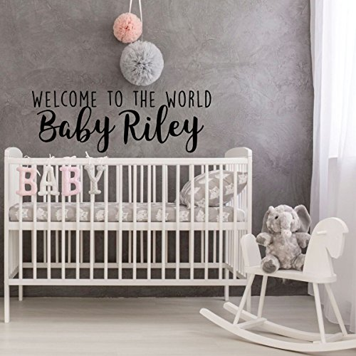 Nursery Wall Decal - Welcome To The World Baby - Personalized Vinyl Decor for Children's Bedroom or Playroom Decoration