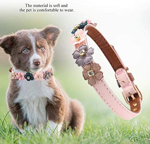Axgo Adjustable PU Leather Cat Collar with Daisy Flowers and Rhinestone for Kitten and Small Dogs, 1.3 x 34cm, Pink