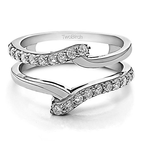 TwoBirch 0.5 ct. Cubic Zirconia Bypass Ring Guard Enhancer in Sterling Silver (1/2 ct. (Cubic Zirconia Bypass Ring)