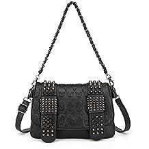 LOYOMA Womens Skull Print Rivet PU Leather Shoulder Bags Tote Purse Handbag
