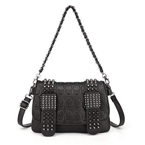 LOYOMA Womens Skull Print Rivet PU Leather Shoulder Bags Tote Purse Handbag (Black Style-2)