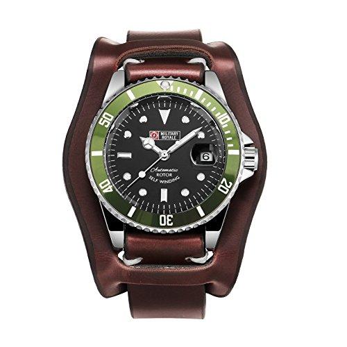 Mechanical Army Sport Analog Military Watch Date Leather Wrist Black Green Bezel Best Gift for Friends Lovers Family Bezel Green Wrist Watch