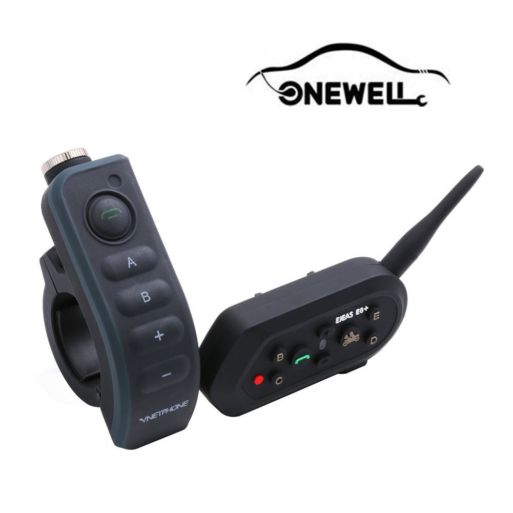 Onewell Wireless Motorcycle Helmet Bluetooth 3.0 with Handle Remote Control 1.2km/0.75mi Intercom Headset Connect up to 6 Riders