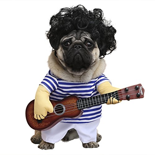 wowowo Dog Costume Guitar Style Pet Costume with Super Funny Dog Curly Wig for Christmas Cosplay Party