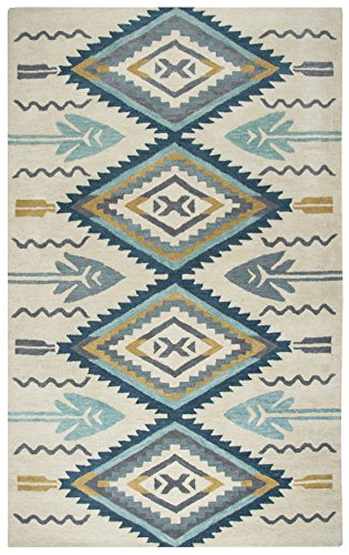 Rizzy Home Southwest Collection SU507A Handtufted 100% Wool Area Rug 9' x 12' Aqua-ivory ()