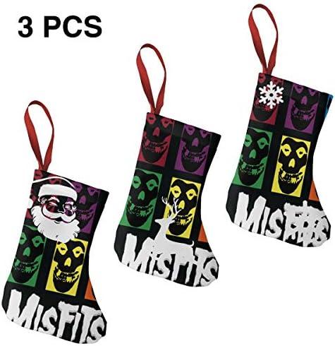 クリスマスの日の靴下 (ソックス3個)クリスマスデコレーションソックス Misfits LOGO クリスマス、ハロウィン 家庭用、ショッピングモール用、お祝いの雰囲気を加える 人気を高める、販売、プロモーション、年次式