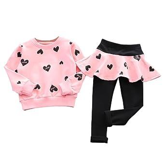 f7fb23ced RETUROM Vestido de Niña de Invierno Blusa Ropa, Nuevo Estilo Encantador  Chico Chicas Amor Corazón Camisa de Manga Larga Jersey + Pantalón Falda  Deportes ...