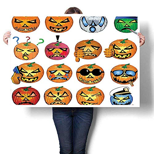The Picture For Home Decoration,Carved Pumpkin with Emoji Faces Halloween Humor Hipster Monsters Harvest Graphic Art Orang painting,Canvas Art Posters Prints Wall Art,40