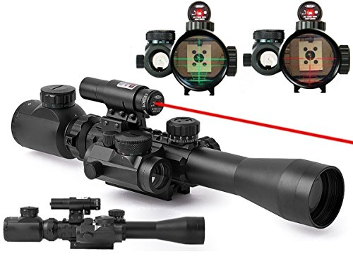 3-9X40 Illuminated Tactical Rifle Scope with Red Laser&Holographic Dot Sight