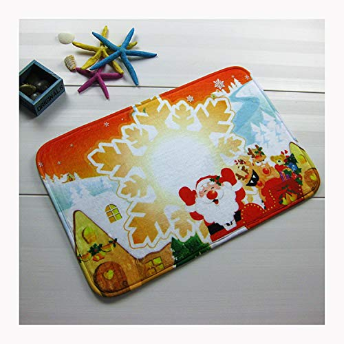 Aokarry Bathroom Accessories Anti-Skid Bath Rugs Snowflake Santa Claus Red 60x40CM