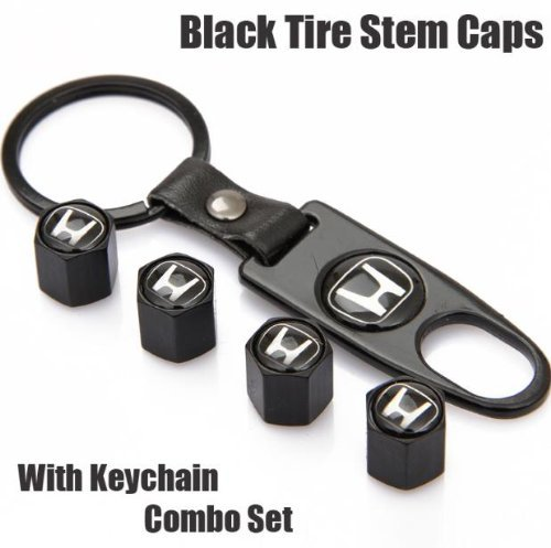 Free Shipping!high Quality Steel Car Air Tire Valve Caps and Black Keychain Combo Set for (Tire Combo)