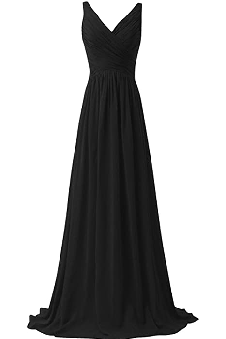 Chic Bride Long V Neck High Waist Bridesmaid Dress Long Evening ...
