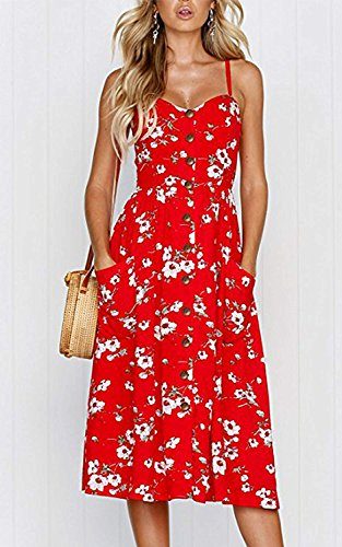 Womens Floral Print Spaghetti Straps Button Down Boho Beach Sundresses with Pockets Red XL