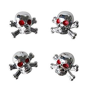 "SODIAL(R) 4pcs Universal Car Truck Bike ""Skull"" Tire air Valve Stem Caps Wheel Rims"