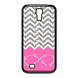 Design For You Colorful Chevron Pattern Live the Life You Love, Love the Life You Live Samsung Galaxy S4 9500 Durable Plastic Case Without Glitter by ruishername