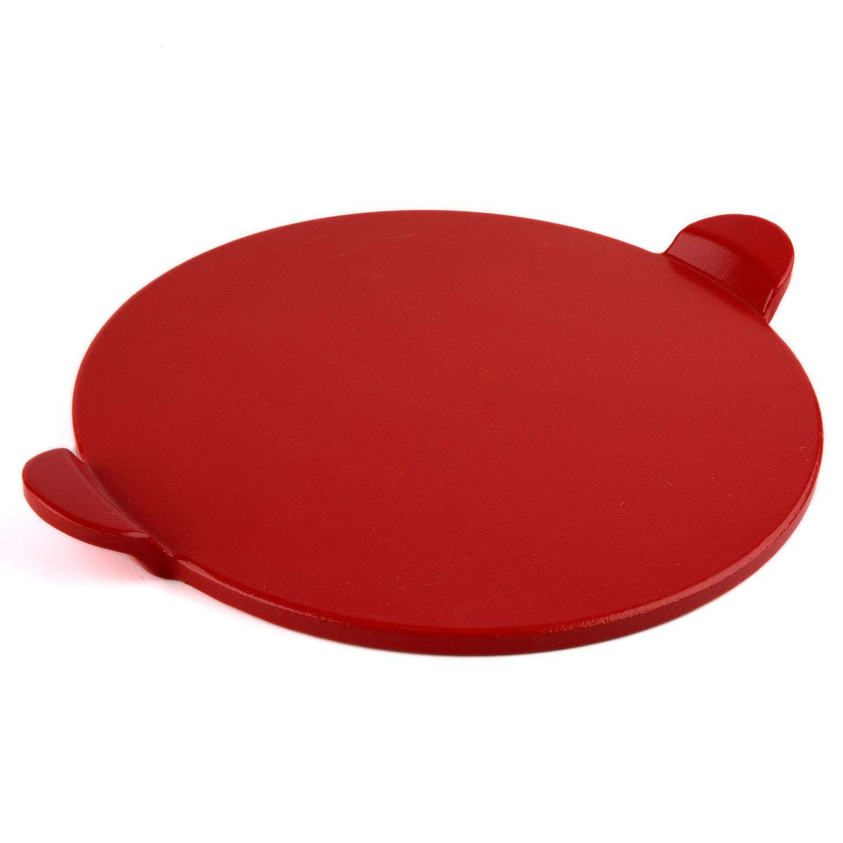 Waykea 13-inch Ceramic Glazed Cordierite Baking Pizza Stone for Grill or Oven, Red, Round with Handles PS1302