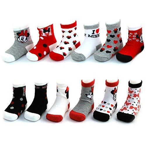 Disney Baby Girls Mickey & Minnie Mouse Assorted Color Pair Socks Set, Red, Black, Grey, White Collection 6-12 Months