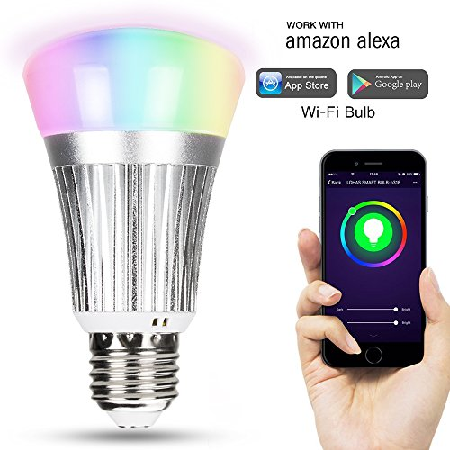 XBK Light Bulbs,Smart Wi-Fi LED Light Bulb,Multicolor Dimmable 60W Equivalent(7W) RGB LED Bulb,Compatible with Amazon Alexa,Google Assistant
