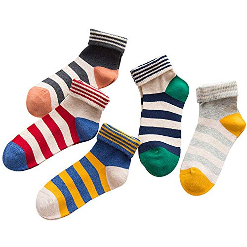 Five pairs of candy-colored pinstriped cotton ladies socks (One_Size,Multicoloured)