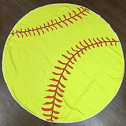 Amazon.com: WLEZY Beach Towel 150cm Tassels Baseball Round ...