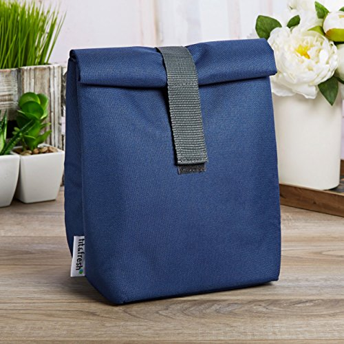 a Insulated Roll-Top Lunch Bag, Navy with Gray Trim ()
