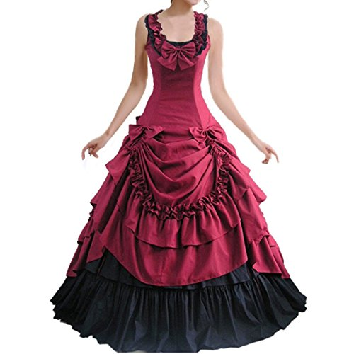 Costume Ball Gowns Cheap (Partiss Bowknot BallGown Gothic Lolita Evening Dress WineRed,Small)