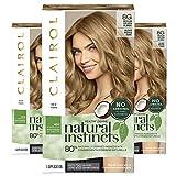 Clairol Natural Instincts Semi-Permanent Ammonia-Free Hair Color, 8G Medium Golden Blonde, Sunflower, Pack of 3