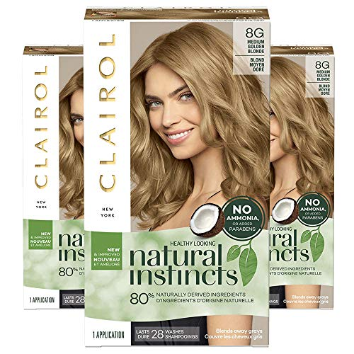 Clairol Natural Instincts Semi-Permanent Ammonia-Free Hair Color, 8G Medium Golden Blonde, Sunflower, Pack of 3