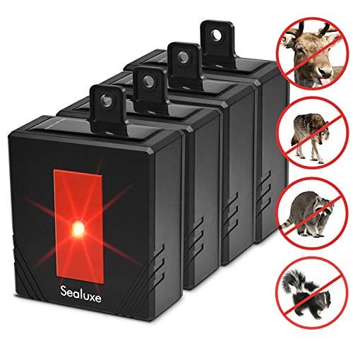 SEALUXE Coyote Deterrent Solar Powered Predator Lights,Skunk Repellent,Animal Repeller Predator Eyes,Racoon Repellents Raccoon Repellent Chicken Coop Accessories 4-Pack … (4PACK) by SEALUXE