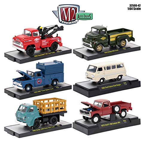 1:64 M2 MACHINES COLLECTION - AUTO-TRUCKS RELEASE 42 IN ACRYLIC CASES Diecast Model Car By M2 Machines Set of 6 Cars