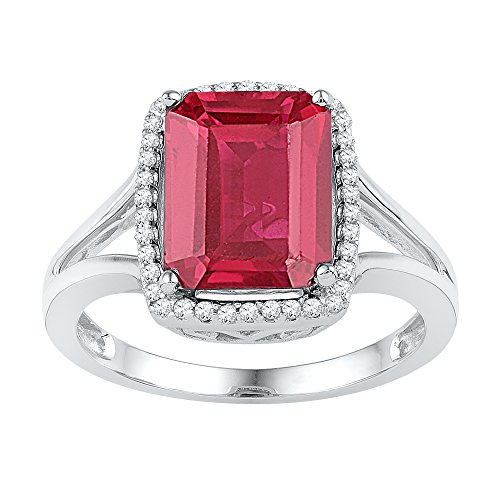 Jewel Tie Size - 5-10k White Gold Emerald Round Red Simulated Ruby And White Diamond Fashion Band OR Engagement Ring Prong Set Solitaire Shaped Halo Ring (.15 cttw.)