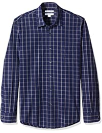 Men's Slim-Fit Long-Sleeve Plaid Casual Poplin Shirt