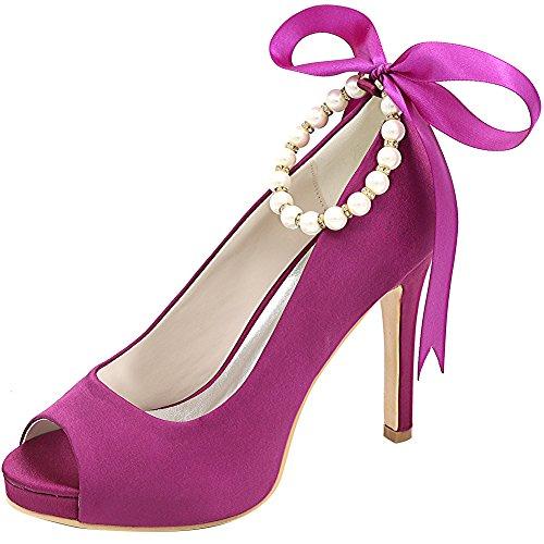 Loslandifen Donna Elegante Peep Toe In Raso Pompe Cinturini Alla Caviglia Tacco Alto Scarpe Da Sposa In Raso Viola