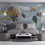 Mznm Nordic Minimalist Hand-Painted Cartoon Airplane Balloon Children's Room Background Wall Custom Large Mural Wallpaer-120X100Cm