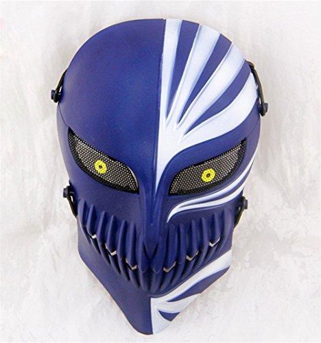 OM(TM) ABS Plastic Death Ichigo Kurosaki Skull Face Mask Protective Mask for Outdoor Cs War Game(blue)