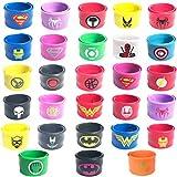 28 pack Superhero Slap Bands Bracelet for Kids Boys & Girls Birthday Party Supplies Favors