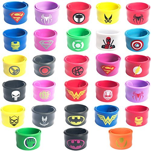 28 pack Superhero Slap Bands Bracelet for Kids Boys & Girls Birthday Party Supplies Favors by Lcoor