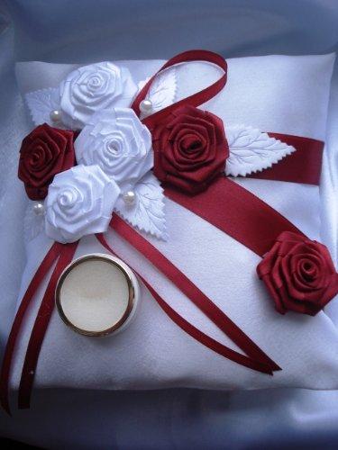 Accesorios de boda cojin para anillos y liga de novia blanco ...