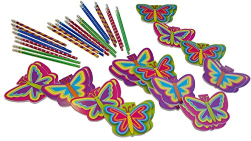 Kids Butterfly Diary - Wiser Road Fly High Butterfly Notepads and Pencils Stationary Bundle Inspiring Creativity and Writing - Set for 24 Kids 4-13 - 48 Piece Bundle (Set for 24 Kids)