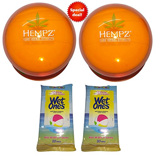 Spf 30 Wipes - Facial Moisturizer Hempz Bundle of Yuzu & Starfruit Daily Herbal 2 pack & 2 Wet One's Antibacterial Wipes