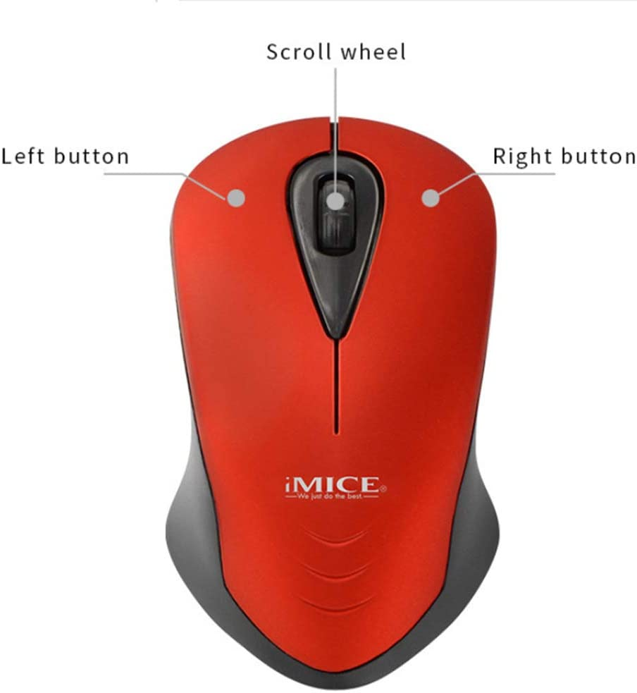 E-2370 Upgraded Red 2.4G Silent Laptop Mouse with Nano Receiver Computer Portable Mobile Optical Mice for Laptop Mac PC Notebook Ergonomic Wireless Mouse for Laptop Slim Wireless Mouse