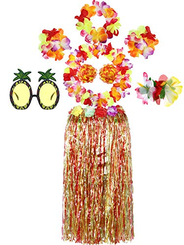 8 Pieces 80cm Hawaiian Luau Hula Grass Skirt Hibiscus Flower Hairclip Pineapple Sunglasses with Large Flower Costume Set for Dance Performance Party Decorations (Multicolor) ()