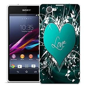 Caso móvil Sony Xperia Z1 Compact Case (Z1 Mini) en carcasa bumper - azul abracemos patrón lápiz capacitivo amor