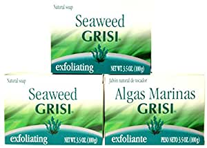 REJUVENATE EXFOLIATE CLEANS SKIN WITH A 3 PACK OF GRISI SEA WEED SOAP BAR