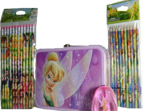 Disney Tinkerbell Purple Tin Box 12 Decorated Pencils and 10 Color Pencils Set School Accessories