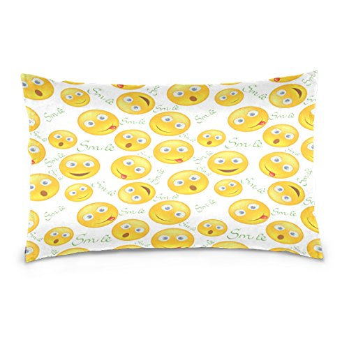 ALAZA Yellow Smiley Face Emoji Cotton Lint Pillow Case,Throw Pillow Case Protector Cushion Cover with Zipper Pillowcase Size 20