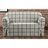 sure fit highland plaid 1piece loveseat slipcover gray sf46423